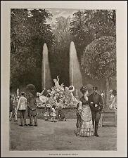 1876:FONTANA GIARDINO REALE A TORINO.ITALIA.PIEMONTE.ANTICA.ORIGINALE.Xilo.Etna
