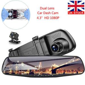 4.3 HD Dual Lens Car DVR Dash Cam Front and Rear Mirror Camera Video Recorder