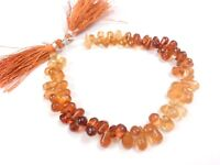 """1 Strand Natural Hessonite Teardrop Smooth 5x9-6x12mm Beads 205Cts/9""""inch"""