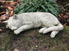STONE GARDEN LYING CAT / KITTEN ORNAMENT STATUE