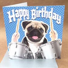 Super pug rock drummer birthday card - for dog lovers or drummers!