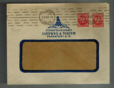 1923 Frankfurt Germany Commercial Perfin Judaica Inflation cover Ludwig Mayer