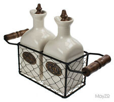 Oil Vinegar Beige Ceramic Pottery Set Vintage Wire Basket Kitchen Table Rustic