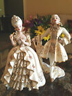 FLORENCE CERAMICS LOUIS XVI MARIE ANTIONETTE DECORATED FIGURINES GOLD WHITE LACE
