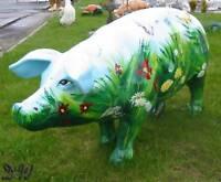 SCHWEIN KUNSTBEMALUNG KLEE GLÜCKSKLEE 40 cm Deko Garten Tier Figur GLÜCKSSCHWEIN