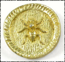 Vintage Yellow Metal ANT Button, Heavy