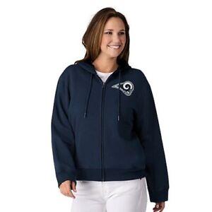 NFL Los Angeles Rams Officially Licensed Women's Full Zip Hoodie G-III Navy