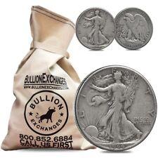 $100 Face Value Bag - 200 Coins - 90% Silver Walking Liberty Half Dollars 50c