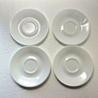 "Lot of 4 CORELLE Solid White WINTER FROST Saucers 6 1/8"" Plates Corning USA"