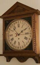 Antique Working Gilbert Oak Gallery Lobby Regulator Calendar Wall Clock c.1900