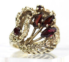 Vintage garnet ring yellow gold marquise rounds feather texture 1.05CT sz 5 1/4