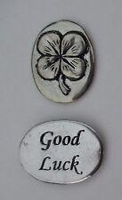 o Good luck shamrock spirit HANDCRAFTED PEWTER POCKET TOKEN CHARM basic coin