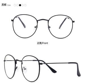 Man Women Vintage Oval Eyeglass Frame Clear Full Rim Plain Glass Spectacles