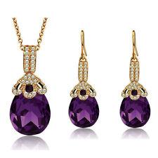 Luxury Dark Purple Teardrop Party Jewellery Set Drop Earrings & Necklace S644