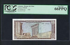 Lebanon One Lira 1-3-1980 P61c Uncirculated Graded 66