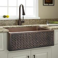 "Signature Hardware 30"" Weave Design Copper Farmhouse Sink"