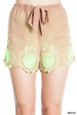 New Umgee Womens Size Large Floral Embroidered Shorts Brown Lime Green Boho