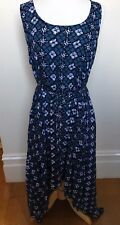 ALL FOR KAT Navy Blue White Geometric Pattern Rayon Sleeveless Maxi Dress XL