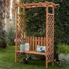 Large Garden Arbor With Bench Wood Arch Trellis Pergola Plant Vines Patio Seat
