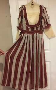ANTIQUE EDWARDIAN CALICO STRIPED ORGANDY DRESS GOWN VICTORIAN,SZ S DISPLAY