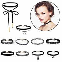 10Pcs/Set Gothic Punk Fashion Velvet Tattoo Lace Choker Collar Pendant Necklace