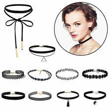 10Pcs/Set Gothic Punk Fashion Velvet Tattoo Lace Choker Collar Pendant Necklace