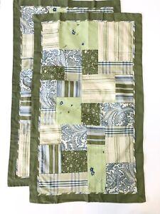 2 NEW Villager Patchwork QUEEN/KING Pillow SHAMS Green Blue Paisley Stripe 20x36