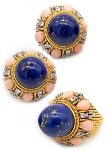 MID CENTURY 1960 RETRO SET IN 18 KT GOLD WITH 65.82 Ctw IN DIAMOND LAPIS & CORAL