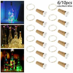 10X Fairy Lights Wine Bottle String Lights Cork Copper Wire Chrismas Decor 、