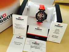 TISSOT T-RACE Men's Chronograph Black Dial Red Rubber Strap T048.417.27.057.01