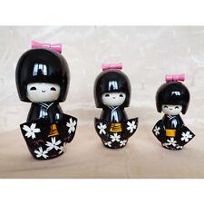 3 statuettes figurines japonaises Kokeshi
