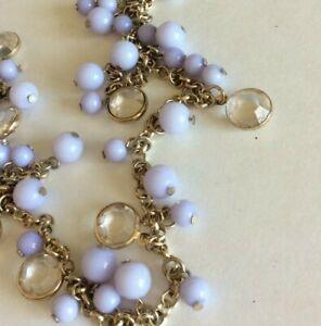 "NWT Loft Gold Tone Chain Light Purple Beads Bezel Clear Charm Long 36"""