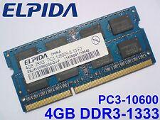 4GB DDR3-1333 PC3-10600 ELPIDA 204pin 1333 1066 Mhz LAPTOP SODIMM RAM SPEICHER