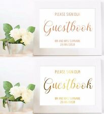 A4 Personalised Wedding Guestbook Sign Foil Print Real Rose Gold Gold Decor Sign