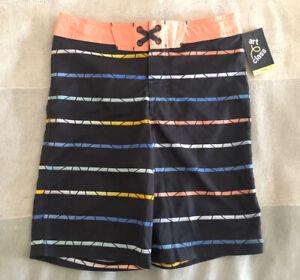 Boys' Art Class Striped Lined Swim Trunks NWT Adjustable Waistband - Size 14