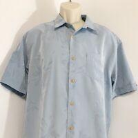 Cubavera Mens Casual Shirt L Blue Jacquard Floral Leaf Button Front Short Sleeve