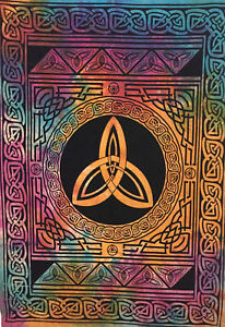 Celtic Star Design Tapestry Small Wall Hanging Cotton Altar Poster Multi Color