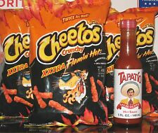 3 Bags XXTRA Flamin' Hot Cheetos 3.5 oz Crunchy Flamin' Hots & a Tapatio Kicker