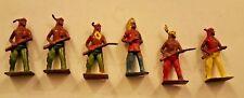 6 Vintage American Indian Miniature Figures (5.5cm X 2.5cm)