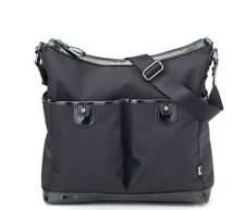 New OiOi Black Ballistic Nylon 2 Pocket Hobo Nappy Bag Gun Metal H/W (6654) - Fr