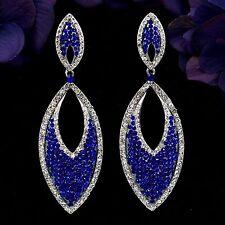 Rhodium Plated Blue Sapphire Crystal Rhinestone Drop Dangle Earrings 08515 New