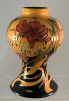 "2008 Moorcroft Mustard Honeysuckle Vase 6 1/4"" Tall Designed By Emma Bossons WOW"