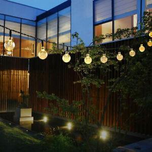 5M 20 LED Solar Lichterkette Party Garten Leuchte Dekobeleuchtung Kristallbälle