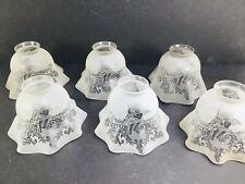 Lot 6 Antique Victorian Etched Glass Gas Light Lamp Shade Ruffle Angels Cherub