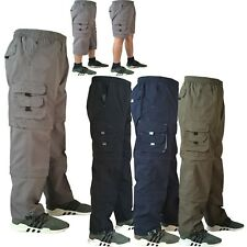 Mens New Elasticated Lightweight Cargo Combat Work Trousers Pants Bottoms Shorts