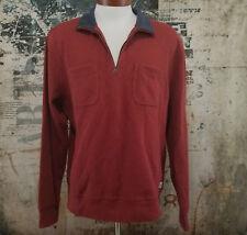 Lucky Brand Pullover 1/4 Zip Long Sleeve Sweater Burgundy Size XL