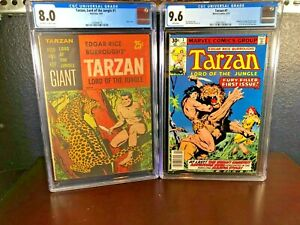 First Issue Lot TARZAN #1 Gold Key 1965 & Marvel 1977 cgc 8.0 9.6 NM+ Appearance