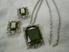 Sarah Coventry Celebrity Smokey Grey Glass Brooch Pendant Necklace Earrings Set