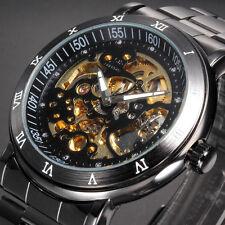 Fashion Men's Skeleton Gunmetal Automatic Mechanical Stainless Steel Sport Watch