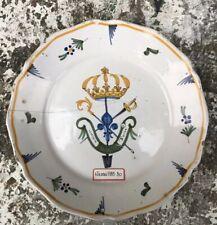 Nevers Faïence XVIIIe Assiette Patriotique Revolutionnaire Aux Trois Ordres1789